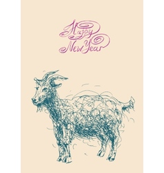 happy new year design card with goat or sheep vector image