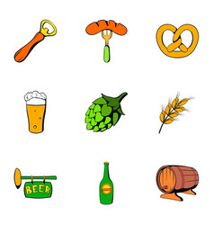 oktoberfest icons set cartoon style vector image vector image