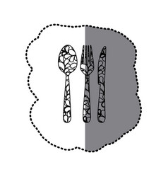scale contour cutlery tools icon vector image vector image