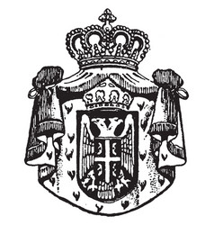 serbian coat of arms is a serbian seal vintage vector image