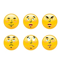 Set of emoticons on white background Cartoon vector image