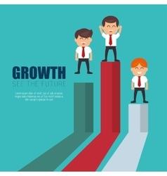 businessmen standing financial bar growth vector image