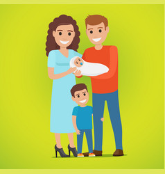 couple holds newborn and small boy standing near vector image