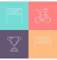 Set of 4 cycling race linear icons vector