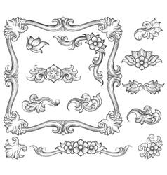 Vintage floral engraving decor elements vector image vector image