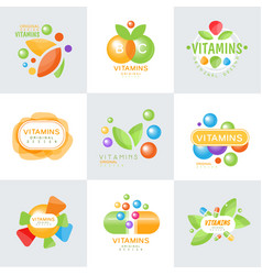 vitamins logo set of colorful vector image vector image