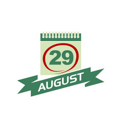 29 august calendar with ribbon vector