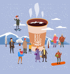 a big cup of coffee people of men and women in vector image