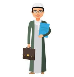 arab saudi businessman with glasses and vector image