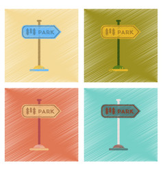 Assembly flat shading style icons park sign vector