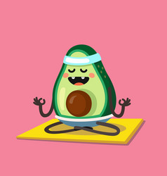 Avocado doing stretching or yoga vector