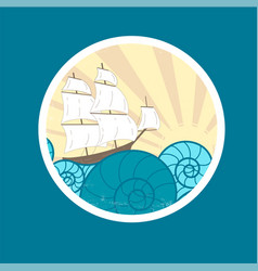 Badge with waves and ship vector
