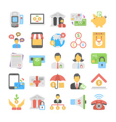 banking and finance colored icons 3 vector image
