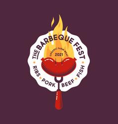 Barbecue fest logo grilled sausages bbq fork vector