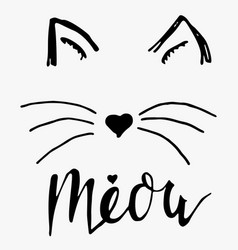 Black lettering meow with cute cat paw vector
