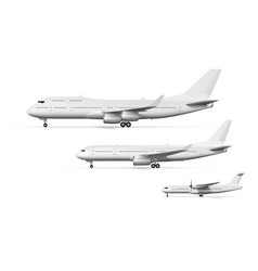blank white airplane or airliner side view set vector image