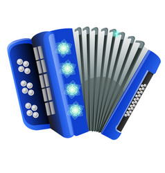 Blue accordion with patterns snowflake isolated on vector