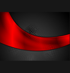 bright red glossy wave on black background vector image