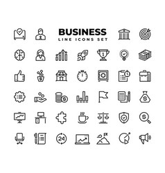 business line icons finance target service vector image