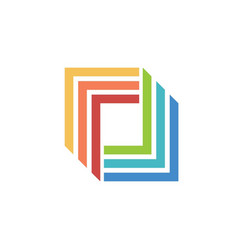 business technology square logo vector image