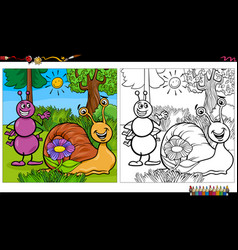 Cartoon ant and snail characters coloring book vector