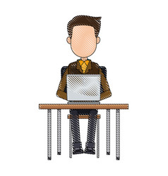Cartoon young man working laptop sitting image vector