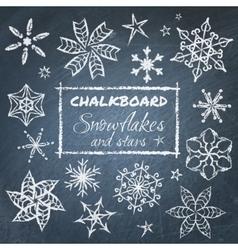 chalkboard set snowflakes vector image