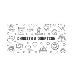 Charity and donation concept outline banner vector