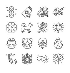 chinese new year line icon set vector image