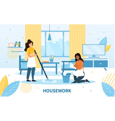 Cleaning team with two maids in aprons vector