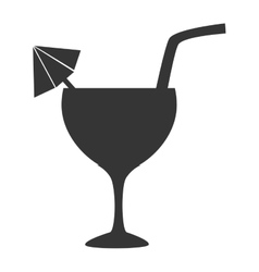 Cocktail cup straw icon vector