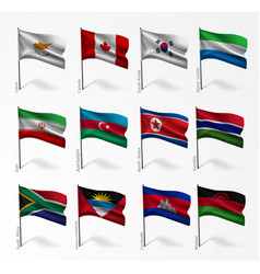 Collection flags world on flagpole vector