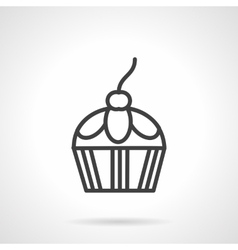 Confection black line icon Berry cupcake vector