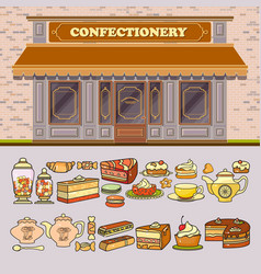 confectionery shop and set of cute various vector image