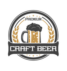 craft beer vintage isolated sticker vector image