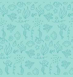 cute underwater world with mermaids seamless vector image