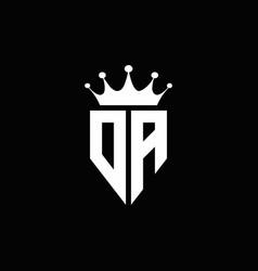 da logo monogram emblem style with crown shape vector image