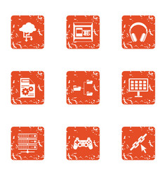Date advice icons set grunge style vector