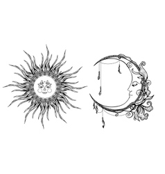 Decorative Sun And Moon vector