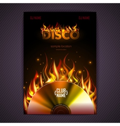 Disco poster fire hard rock background vector
