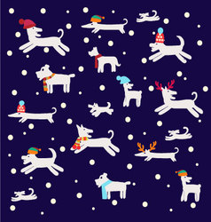 Dogs pattern Christmas set with dog silhouettes vector