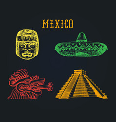 drawn set of famous mexican attractions vector image