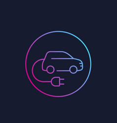 Electric car with plug ev linear style icon vector