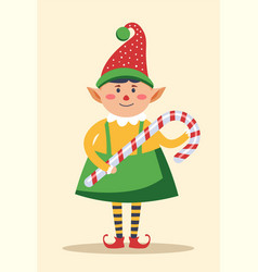 Elf wearing traditional clothes holding candy vector