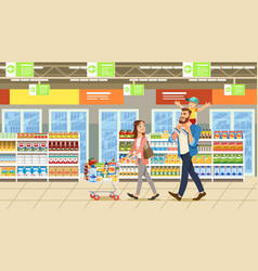 Family shopping in supermarket vector