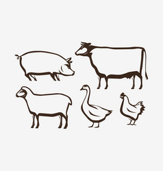 farm animals set farming husbandry vector image