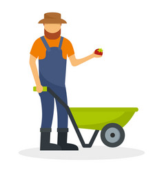 farmer with wheelbarrow icon flat style vector image