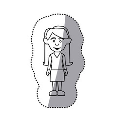 Figure woman with casual cloth icon vector