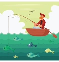 Fisherman sitting in the boat vector