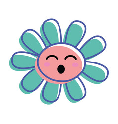 Flower funny cheeks and close eyes vector